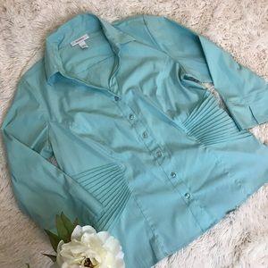 SALE dressbarn Turquoise Button Down Size L 110